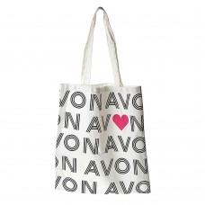 Сумка шоппер AVON 35 см х 40 см (Белый/Черный/Сердце)