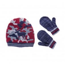 Детский набор Little me шапка/варежки (камуфляж)