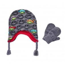 Детский набор шапка/варежки Черепашки Ниндзя (серый)