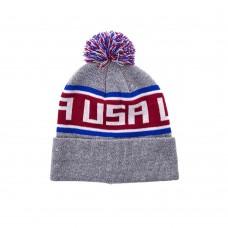 Шапка тёплая  USA MARLED OSFA ( серый\красный\белый\синий)
