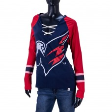 Футболка лонг-слив шнуровка Majestic орёл (синий/красный рукав)