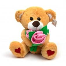 Мягкая игрушка Медведь с букетом розовых роз