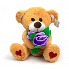 Мягкая игрушка Медведь с букетом фиолетовых роз