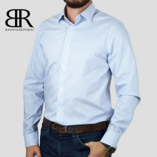 Рубашка BANANA REPUBLIC (голубой\синий\клетка) slim fit