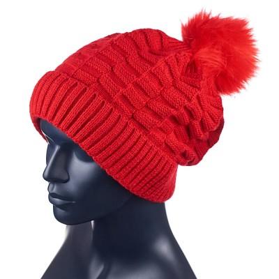 Шапка Fleece Lined Pom Pom HAT (красный)